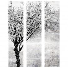 Decoratief wandschilderij boom zwart witte