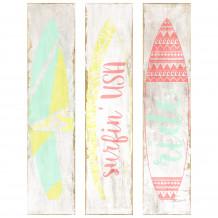 Decoratief wandschilderij decor surf wit hout