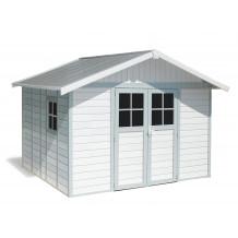 Déco Gartenhaus 11 m² weiß - Graublau